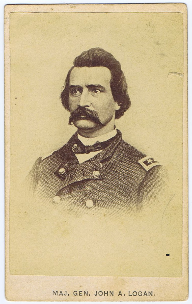 Gen. John A. Logan, with shock of hair and flamboyant moustache. Thought by  many to be a Southern sympathizer, he marched to 1st Bull Run, though not  in the ...